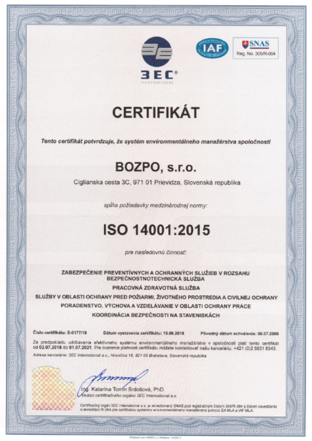 BOZPO, s.r.o. ISO 14001