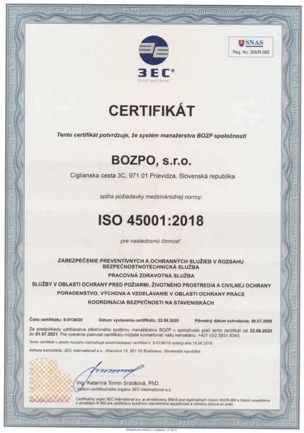 BOZPO, s.r.o.  certifikát ISO 45001
